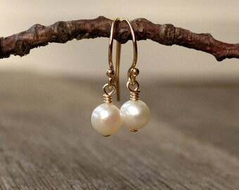 Tiny freshwater pearl earrings, 14K gold filled, sterling silver drop earrings, wedding jewelry, bridesmaid gift, bridal earrings, everyday