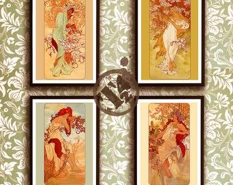 MuChat Seasons - Mucha Inspired Posters