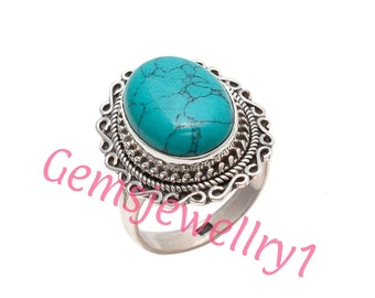 Turquoise Ring, 925 sterling silver,Girl / Women Ring,Turquoise Stone, Stone Ring, Gift Ring, US Size 5 6 7 8 9 10 11 12 13 14   12