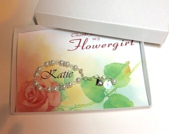 Card with brcelet initial charm gift flower girl, Bridesmaid, maid of honor, matron of honor cards you choose