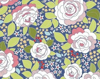 SALE!! 1 Yard Into the Garden by Amanda Herring for Riley Blake Design- 5590 Main Navy