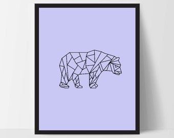 Blue Geometric Bear, Wall Art, Bear Wall Print, Boho Art, Wall Prints, Bear Prints, Art, Walking Bear