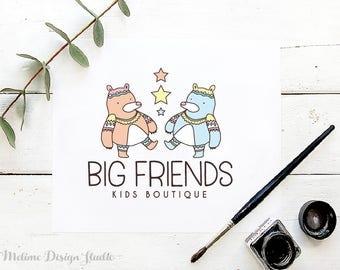 Kids Tribal Logo, Kids Pre made logo, BohoBears Logo Design for your Business, Kids logo Design, Kids Boutique Branding and Logo (B28)