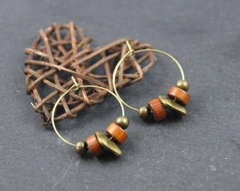 hoop earrings, chic, ethnic, bronze, bayong wood