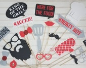 Set di 18 - Backyard BBQ Photo booth Props, fare barbecue doccia coppie, decorazioni di compleanno BBQ, Honey Bbq fare, BabyQ partito, Housewarming