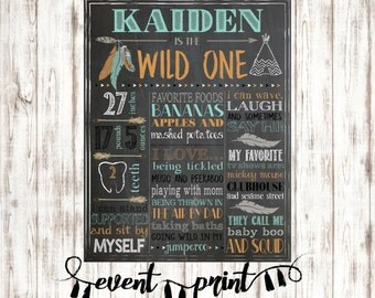 Tribal Wild One First Birthday Party Chalkboard Milestone Printable Sign > Personalized Digital File > Babys First Year
