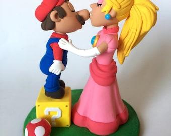 Mario Bros & Peach Wedding Topper Clay Nintendo Doll