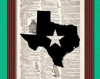 BUY 2 GET 1 FREE Texas Star State Map Dictionary Art Print Southern South Decor Austin Dallas Houston San Antonio Fort Worth Corpus Christi