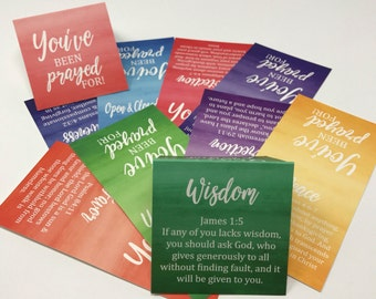 Prayer Cards with 10 different Bible Verses and Themes