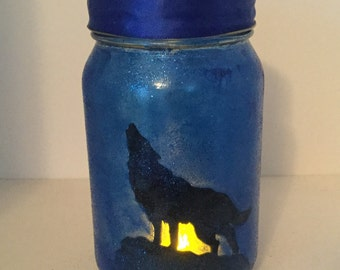 Wolf Mason Jar Lantern - Wolf Luminaire - Wolf Flameless Votive Holder - Howling Wolf Mason Jar Nightlight