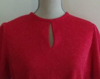 Vintage Red Knit Dress with Keyhole neckline.