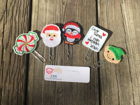 Santa Clause Is Comin To Town Paper Planner Clips set of 5! Christmas planner clip pack. Holiday planner clip pack