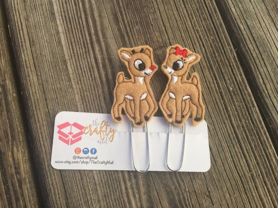 Rudolph & Clarice Reindeer Planner Clip/Paper Clip/Feltie Clip. Christmas planner clips. Your choice of design. Reindeer planner clip