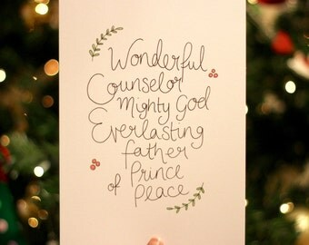 Wonderful Counselor A5 Hand-lettered Scripture Print