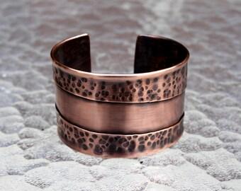 Hammered Copper Cuff Bracelet, Men's Copper Cuff Bracelet, Modern Chic Copper Cuff Bracelet