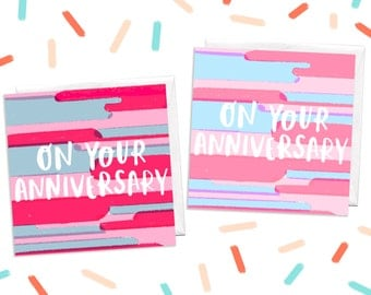 Illustrated Anniversary Greeting Card, Pink Anniversary Card, Pastel Anniversary Card, 1st Anniversary Card, On Your Anniversary