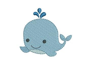 "Mini Baby Whale Machine Embroidery Design, Fill Stitch, Cute Baby Whale, , Mini Whale Embroidery 2""x2"", 4""x4"", Instant Download, no: S522-3"