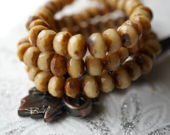 Creme Brulee, Rondelle Beads, Czech Beads, Beads