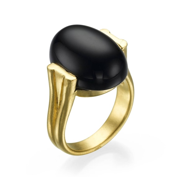 Black yx Ring Solitaire Ring 18K Gold Plated Ring Black