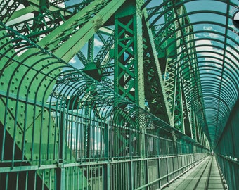 Montreal Jacques-Cartier Bridge Print, Urban, Vanishing point, minimal picture