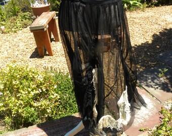 Beautiful vintage handmade sheer black gothic skirt, size uk 12-14, usa 10-12