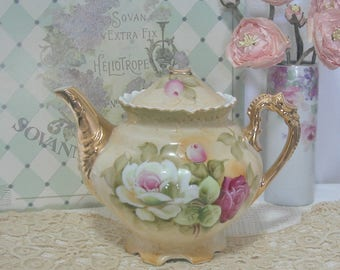 Lefton China Teapot, Hand Painted Burgandy, White, Pink Roses, No Lid, Cottage, Shabby Chic