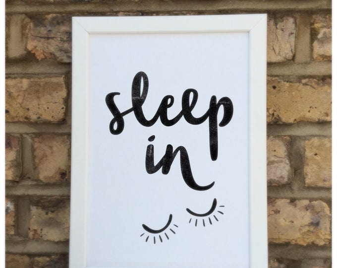Sleep in print | quote | Wall prints | Wall decor | Home decor | Print only | Typography