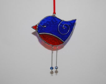 Fun Blue Red Bird - 3D Stained Glass Ornament - Decoration Home Decor Suncatcher 3Dimensional Wire Wings
