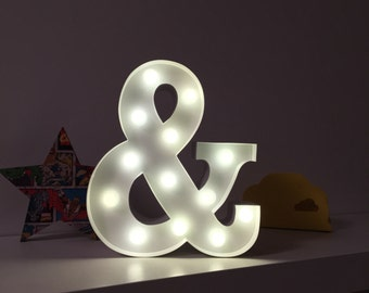 9 Inch LED Light - AMPERSAND(&) - Various Colours/Battery Operated - Perfect Night Light, Gift, Bedroom and Wedding Decor
