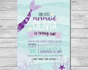 Mermaid Birthday Invitation | Under the Sea Invitation | Kids Birthday Party | Custom Birthday Invitation