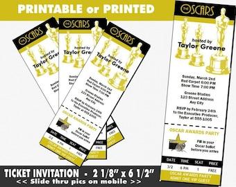 Oscar Awards Party Ticket Invitation, Printable with Printed Option, Academy Awards Themed Invites, Hollywood