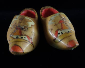 Pair Of Handmade Wooden Shoes From Holland.