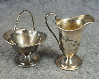 Forbes Silver Company Silver-Plated Creamer And Sugar Basket C. 1900's-20's
