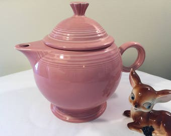 Fiesta ware Dusty Rose large tea pot - Fiesta tea pot - dusty rose tea pot - Pink tea pot - pink Fiesta