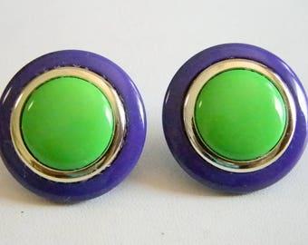 Large Gold Green Purple Button Pierced Earrings