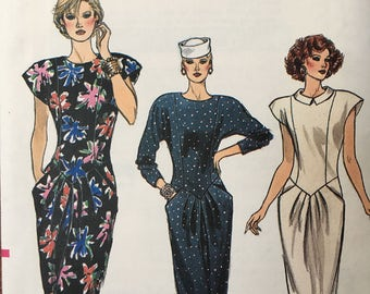 9519 VOGUE Misses Shaped Waist Fitted Dress Pattern  12-16 UNCUT. Lovely Princess Seamed Dress with Shaped Waist and Sleeve Variations