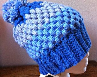 Puff Stitch Hat blue