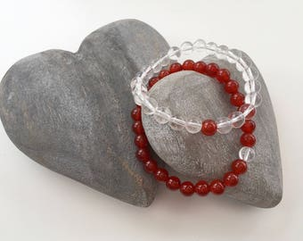 Carnelian and Crystal Quartz couples bracelets, sisters bracelet set, boyfriend, girlfriend gift, his and hers, best friends graduation gift