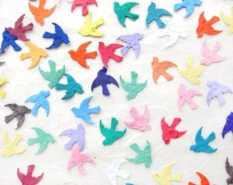 100 Seed Paper Confetti Birds - Plantable Doves Flower Seed Wedding Favors - Plantable Paper - Your Choice Color
