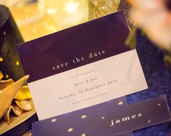 Midnight save the date card, navy and white