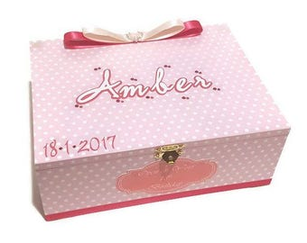 Baby Girl Keepsake Box Pink & White Polka Dots