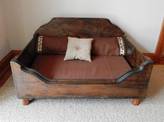 Wooden Dog Bed Rustic Pet Bed For Small To Medium Dogs