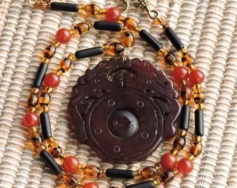 Sale! Dark Jade Pendant with Carnelian and Czech glass Necklace