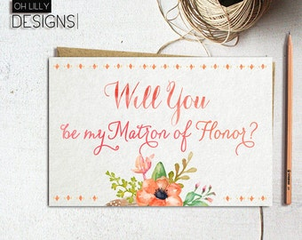 Matron of Honor Proposal, Will you be my matron of honor Card, Floral Proposal Card, Floral matron of honor Card