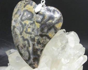 Natural Ayaka Agate Heart Pendant.