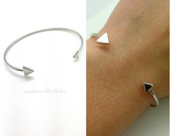 Bracelet, ring silver triangles-925 ring semi open geometric, 925/000 - 925 silver bangle Bracelet sterling silver tips