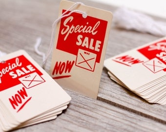 20 x Vintage Sale Tags Special Sale Red Price Labels String Discount Tags Paper 1970s Sale NOW Awesome