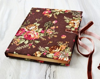 Journal handmade Wedding diary Gift for women Fabric notebook Floral journal Roses notebook brown Blank journal vintage Writing journal Key