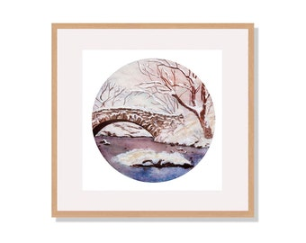 Winter Landscape Watercolor Illustration Print, Wall Art, Wall Decor, Watercolor Painting, Art Print