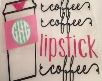 Coffee Coffee lipstick coffee monogram iron on / monogram decal / monogram shirt / coffee coffee lipstick coffee iron on decal